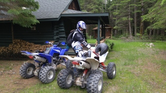 Buk loving on his quad (probably can't tell) at the cabin